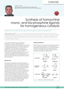 Synthesis of homochiral mono- and bis-phosphine ligands for homogeneous catalysis